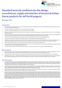 Standard terms & conditions for the design, manufacture, supply and erection of structural timber frame products for self-build projects