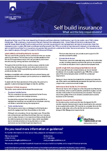 Self build insurance - key requirements